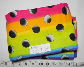 Fabric -2 yd piece- #1938 -Ombre Dots/Rainbow/1 inch-black/grey dots on purple/pink/orange/lime/blue