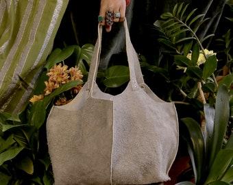 Panelled Soft Grey Suede Genuine Leather Tote Shoulder Handbag, Rectangular Base, Black Stitching Accents, Silver Rivets