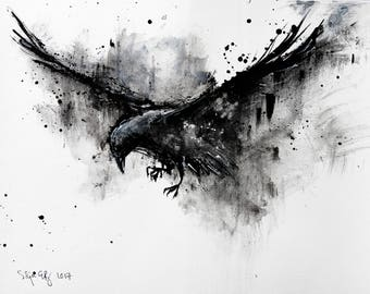Crow art - A3 - 16x12in  - abstract bird painting - flying