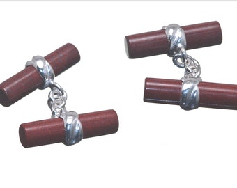 Red Jasper Cufflinks Cylinder Double Deluxe Sterling Silver 925