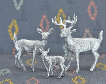 Deer Family Cake Topper Figurines - Silver