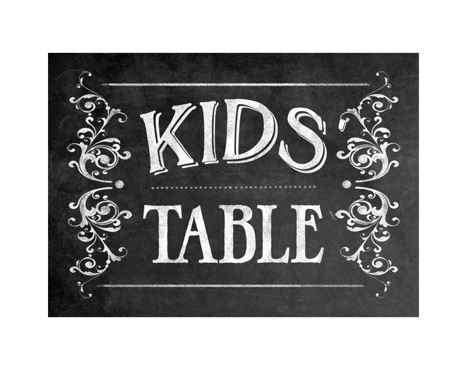 Printable - KIDS TABLE - instant download digital file - DIY - Victoria Chalkboard Collection