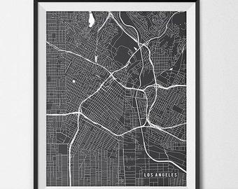 Los Angeles California State Map Art Print, Los Angeles Map Art LA Wall Art Los Angeles City Map of Los Angeles Art California Wall Art