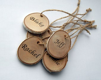 Wooden Name Tag, Wedding Gift Tags, Wooden Hang Tags, Wedding Party Favor Rustic Gift Tags, Real Wood Tags,  Gift Accessories, Key Tag