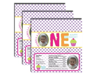First Birthday Photo Candy Bar Wrappers, Printable Candy Wrapper, Happy Birthday Chocolate Bar Wrappers-DIGITAL DOWNLOAD