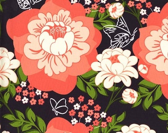 SALE Flutter by rose in peach from the Strawberry Moon fabric collection by Sandi Henderson of Portabellopixie for Michael Miller