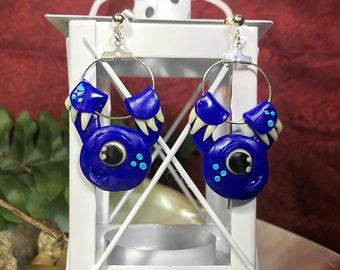 Blue Cyclops, Monster Buddy, Glow In The Dark, Black Light Reactive, Polymer Earrings