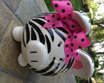 Personalized Piggy Bank Zebra Print