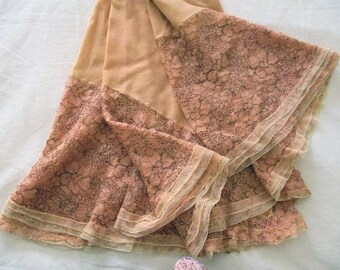 Vintage Tulle Lace Metallic Embroidery 1930s