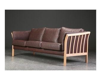 Vintage Danish Three Seater Leather Sofa