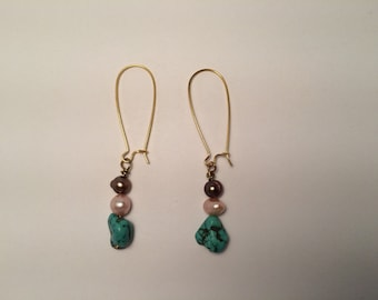 Turquoise Dangle Earring with Colored Freshwater Pearls