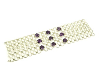 925 silver bracelet made entirely by hand, with amethyst briolette