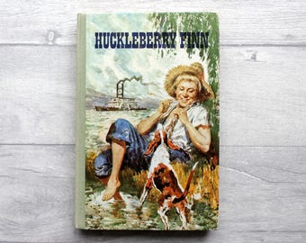 Vintage Children's Book, Huckleberry Finn, Vintage Book, Mark Twain, Tom Sawyer, Children's Library, Book Lover Gift, Children's Classic