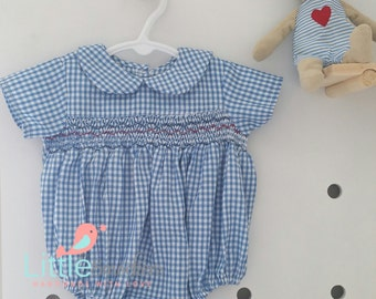 Beautiful hand smocked blue checked baby romper : size 3-6 months