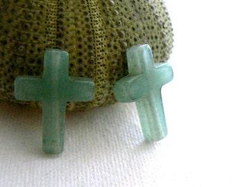 Green aventurine cross 4 beads.Gemstone 17x12mm beads. Jewelry beads supply. Religious stone beads-Christian cross gemstone-Craft supply