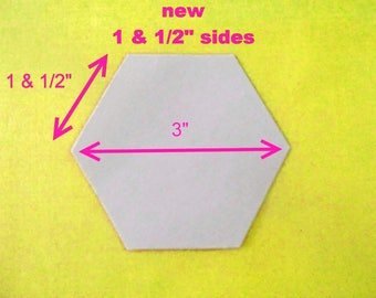 500 Paper Hexagons Templates for Patchwork  English Paper Piecing One and 1/2  inch Sides - 3 inch size