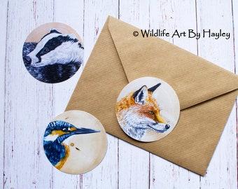Animal stickers, sticker pack, wildlife stickers, art stickers, large circular stickers, british wildlife stickers, wood slice paintings,