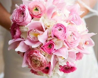 Peony Wedding Bouquet, soft pink artificial flowers, bridal accessories