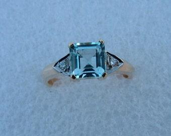 Aquamarine and diamond gold ring-Aquamarine ring-gold ring-engagement ring
