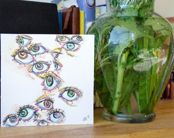 Eyes Painting with Watercolor and Micron