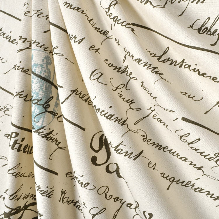 Shower Curtain French Penmanship Size 72x72 Grey Script Blue