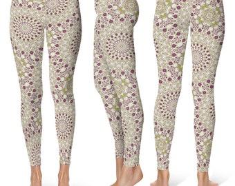Stretch Yoga Pants Women, Mardi Gras Leggings Printed in Purple and Green Kaleidoscope Pattern