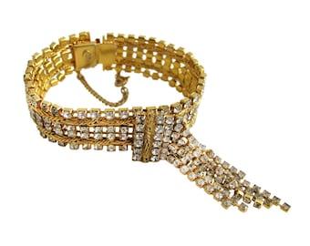 Vintage Hobe Gold Tone & Rhinestone Fringed Bracelet