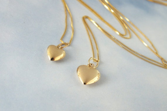 2 gold heart necklace mother and daughter solid 14k gold aloadofball Images