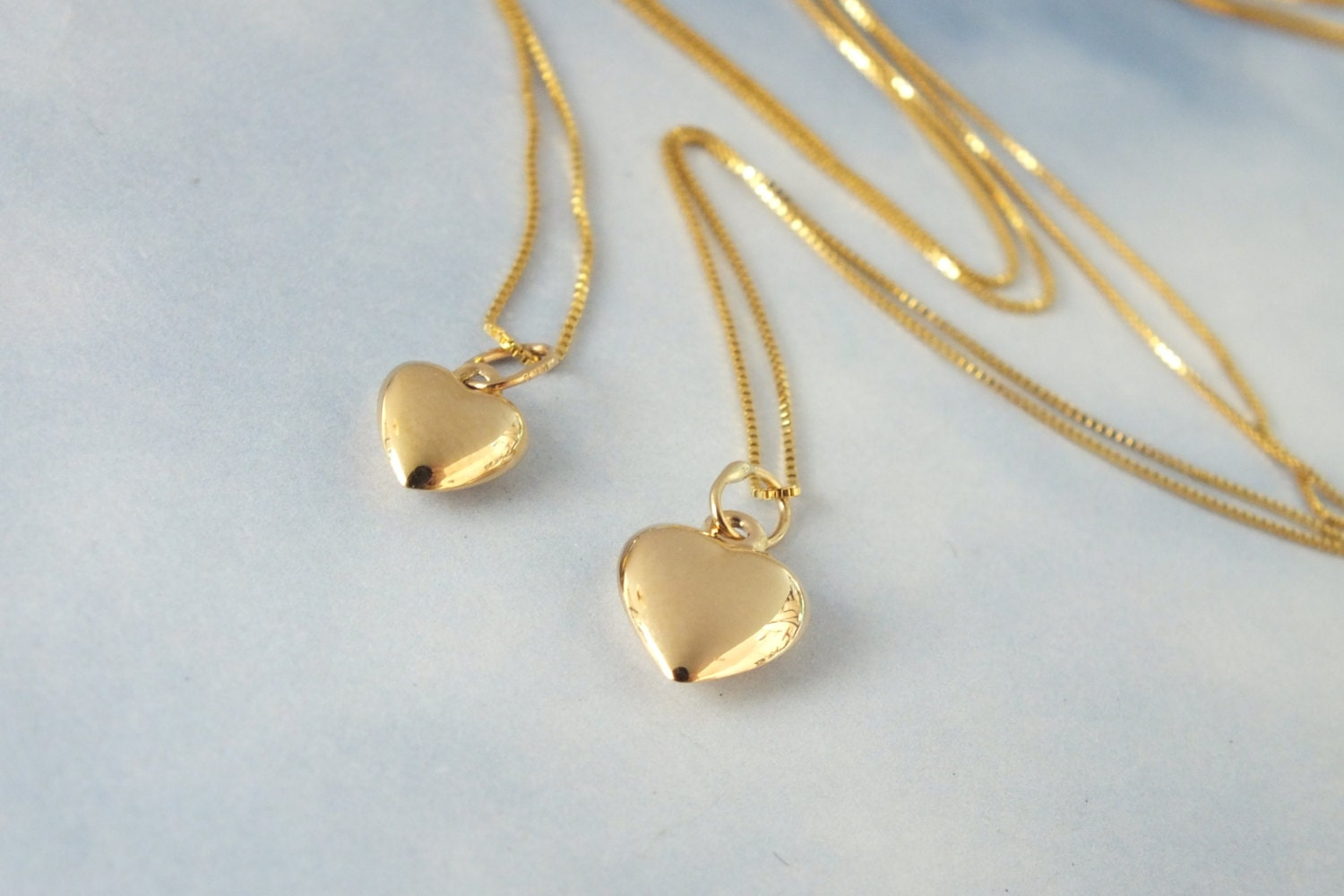2 gold heart necklace mother and daughter solid 14k gold zoom mozeypictures Choice Image