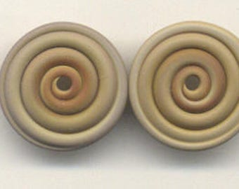 17mm range, Tom's lampwork opaque satin (etched) frosted avocado 2 disc spacer set, 1 pair 98350-2A