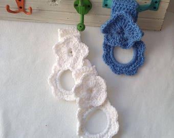 Crochet Kitchen towel ring set blue white