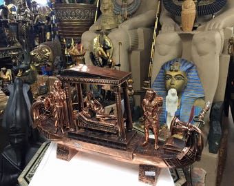 Unique  24'' L Vintage Egyptian Cleopatra Boat Statue W/COPPER WASH Made In Egypt