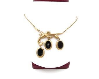 Vintage Gold Filled Black Jet Mourning Necklace - Antique Gold-filled Onyx Mourning Necklace - Victorian Gold Forget Me Not Drop Necklace