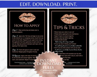 LipSense|LipSense Apply|LipSense Tips and Apply Cards|LipSense Application Instructions|Rose Gold|Black|Glitter|INSTANT