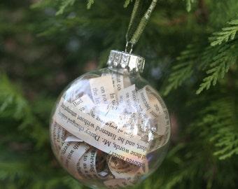 Pride and Prejudice Book Page Christmas Ornament- Iridescent