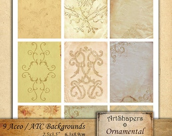 ORNAMENTAL OLD papers- Aceo backgrounds, jewelry holders,instant download paper,digital papers,digital collage sheet DCS88