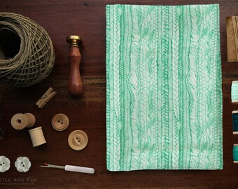 Braided Print Fabric/ Mint Green Plaited Drawing Premium Cotton Fabric by the yard | Ships from USA, Free Ship Worldwide