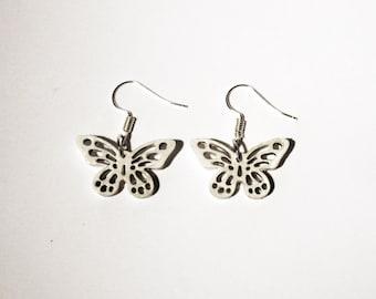White Butterflies earrings - Pendants
