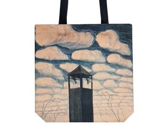 Shopping bag Canvas bag Tote bag Shopping tote Martket bag Handbag blue Shoulder bag Ciurlionis art bag