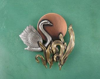 Swan Brooch-Swan Jewelry- Swan Pin- mixed metal jewelry