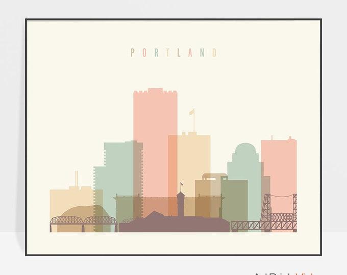 Portland Oregon art print, Portland skyline poster, Portland wall art, Gift decor, Travel poster, Home Decor, ArtPrintsVicky