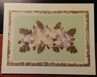 Pressed flower greeting card (blank) Pansy Delight