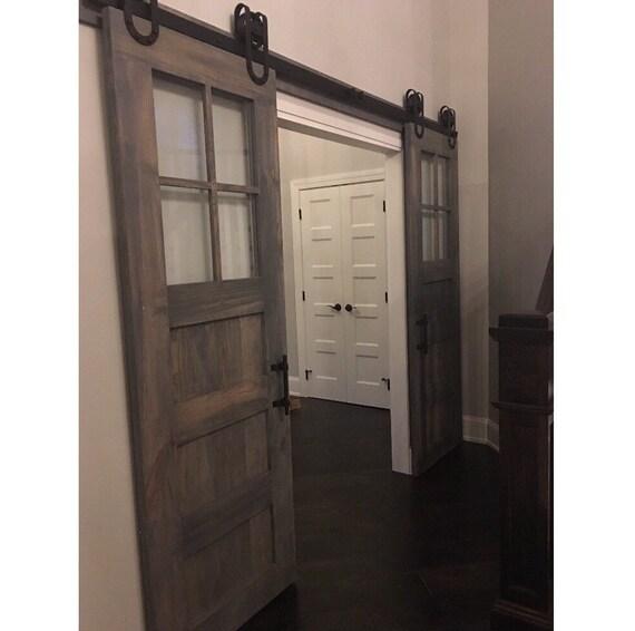 3 Panel Sliding Glass Door: Vintage Custom Made 3 Panel Design Sliding Barn Door W/Glass