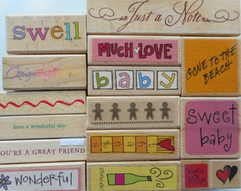 15 Various Gently Used - New Rubber Stamps, Free Shipping