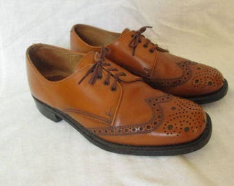 Sheriff Men Brown Leather Wingtip Derby Brogues Shoes Sz 6 UK / 6 1/2 US Made in England