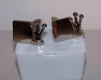 Vintage Silver Tone CROWN Cufflinks Cuff Links - Silver Tone 1950s