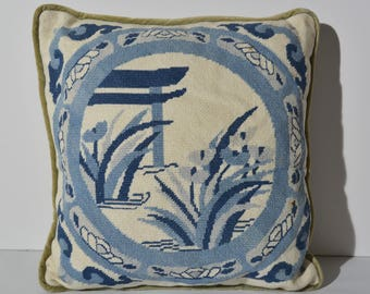 Light and dark blue Asian garden motif vintage needlepoint pillow