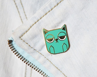 Sass Cat: Turquoise Hard Enamel Pin | turquoise, cat lovers, cat jewellery, gifts for cat lovers