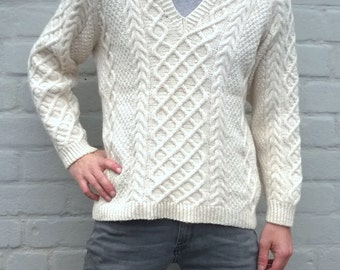 White fisherman's pullover, cable knit sweater, aran, sweater, men's jumper, handmade wool sweater, fisherman winter sweater, M/L,  (TW57)