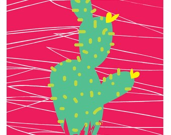 cactus print pink  by Rachael Partis Design
